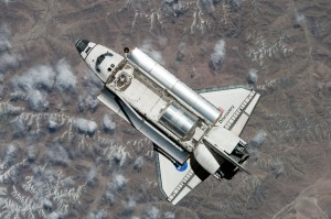 Space Shuttle Discovery viewed by Expedition 23 aboard ISS (April 7, 2010)