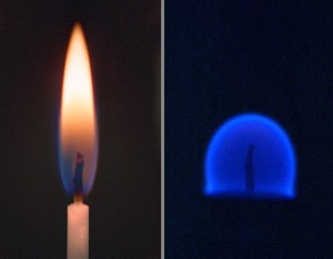 Comparison between a flame on Earth & a flame in a microgravity environment